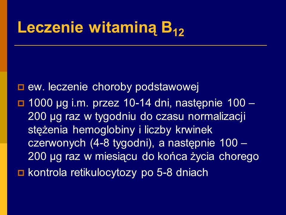 Leczenie witaminą B12 ew. leczenie choroby podstawowej