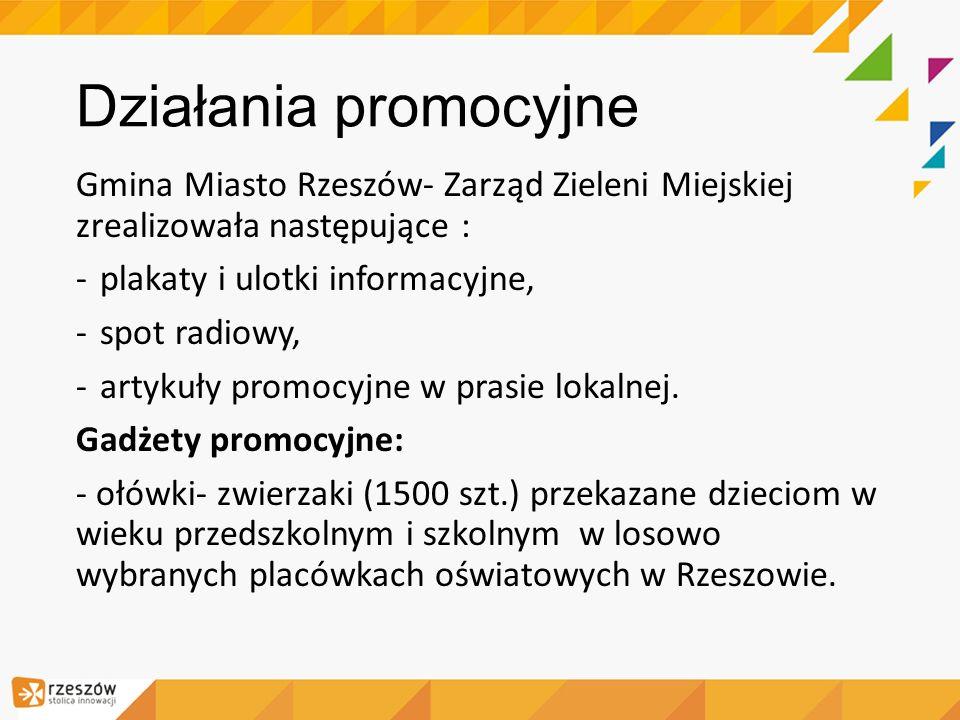 Działania promocyjne Gmina Miasto Rzeszów- Zarząd Zieleni Miejskiej zrealizowała następujące : plakaty i ulotki informacyjne,