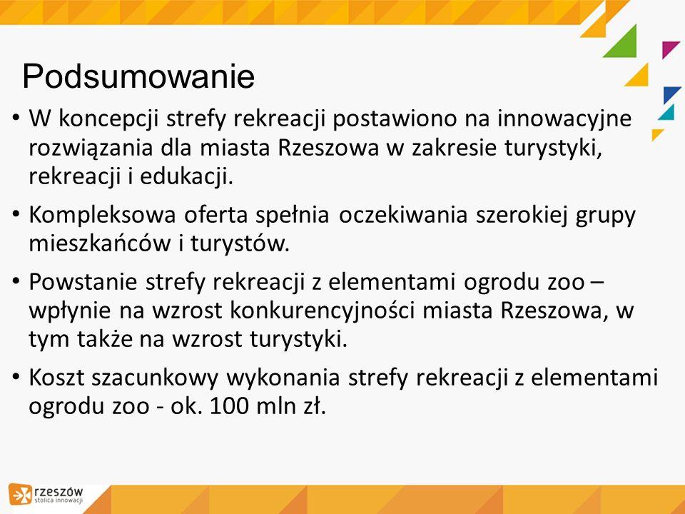 Podsumowanie W koncepcji strefy rekreacji postawiono na innowacyjne rozwiązania dla miasta Rzeszowa w zakresie turystyki, rekreacji i edukacji.
