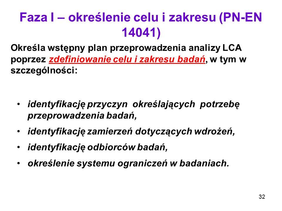 Faza I – określenie celu i zakresu (PN-EN 14041)