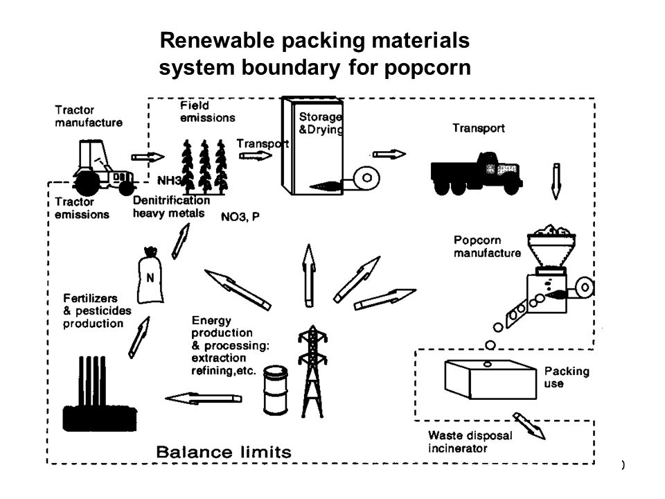 Renewable packing materials system boundary for popcorn