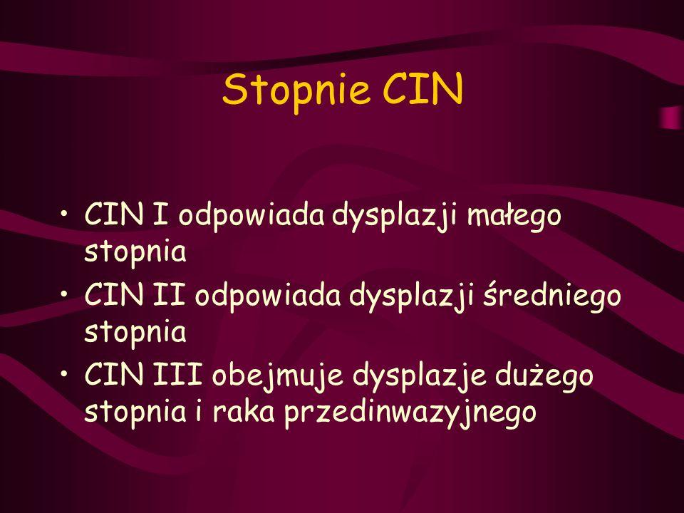 Stopnie CIN CIN I odpowiada dysplazji małego stopnia