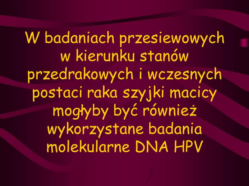 W badaniach przesiewowych w kierunku stanów przedrakowych i wczesnych postaci raka szyjki macicy mogłyby być również wykorzystane badania molekularne DNA HPV