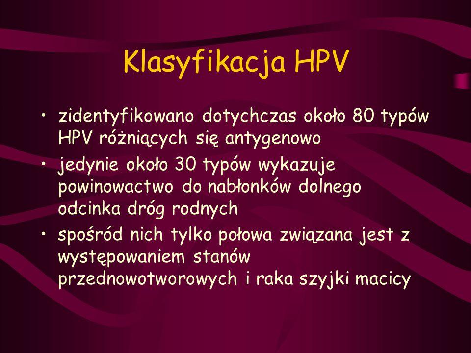 Klasyfikacja HPV zidentyfikowano dotychczas około 80 typów HPV różniących się antygenowo.