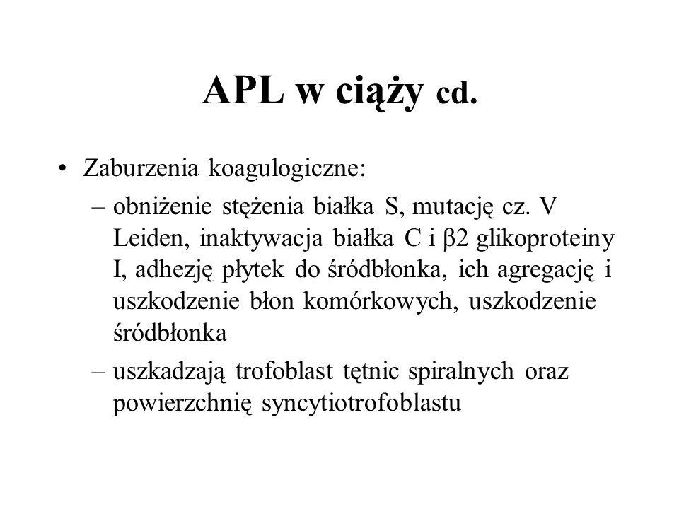 APL w ciąży cd. Zaburzenia koagulogiczne: