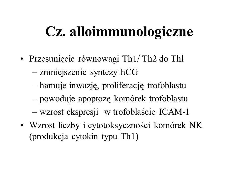 Cz. alloimmunologiczne