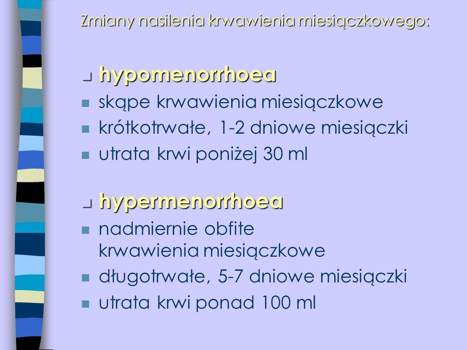 Zmiany nasilenia krwawienia miesiączkowego: