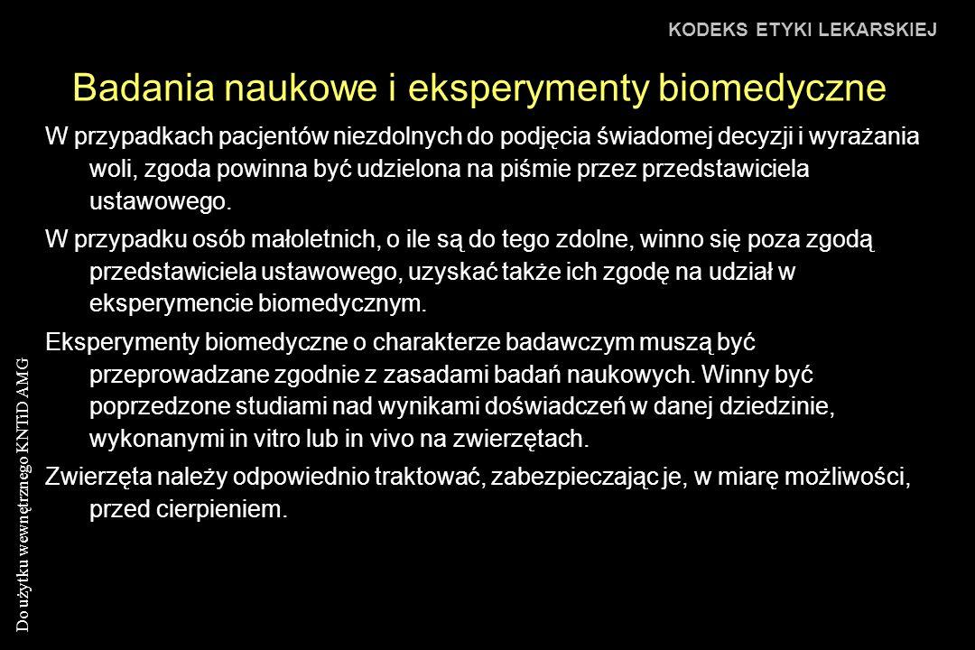 Badania naukowe i eksperymenty biomedyczne