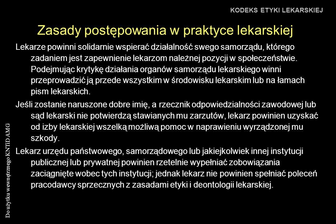 Zasady postępowania w praktyce lekarskiej