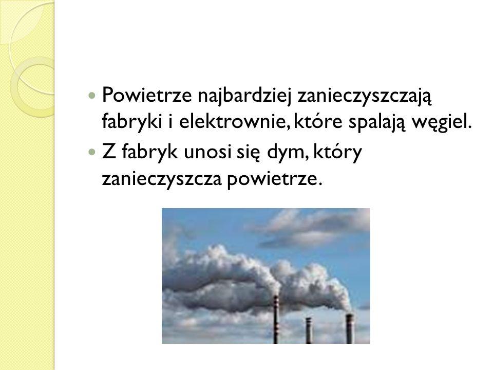 Powietrze najbardziej zanieczyszczają fabryki i elektrownie, które spalają węgiel.