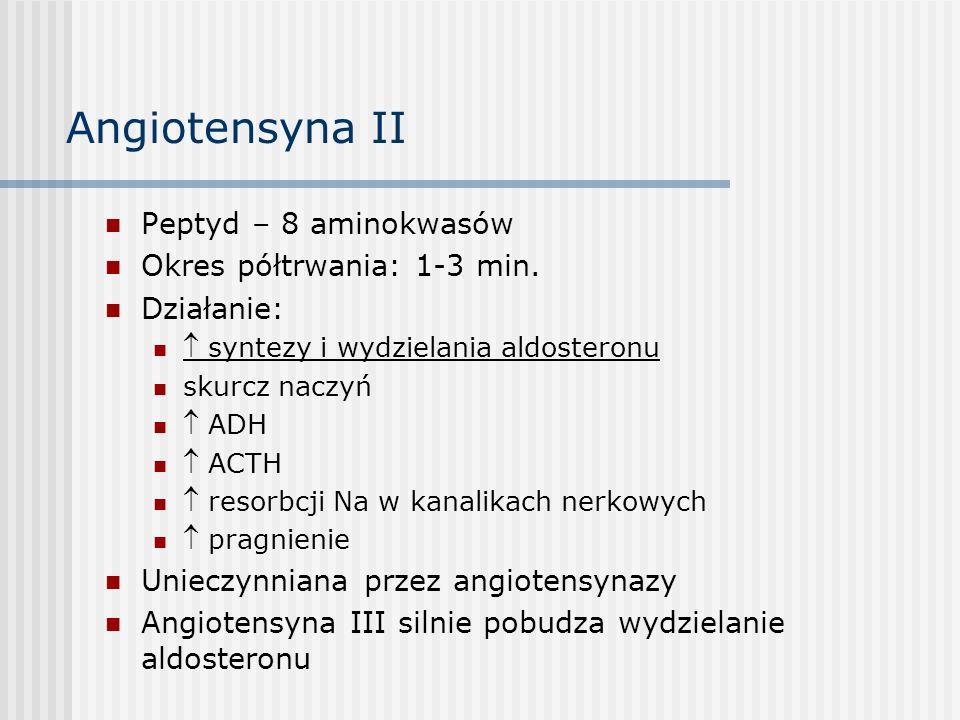 Angiotensyna II Peptyd – 8 aminokwasów Okres półtrwania: 1-3 min.