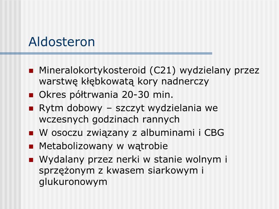 Aldosteron Mineralokortykosteroid (C21) wydzielany przez warstwę kłębkowatą kory nadnerczy. Okres półtrwania 20-30 min.