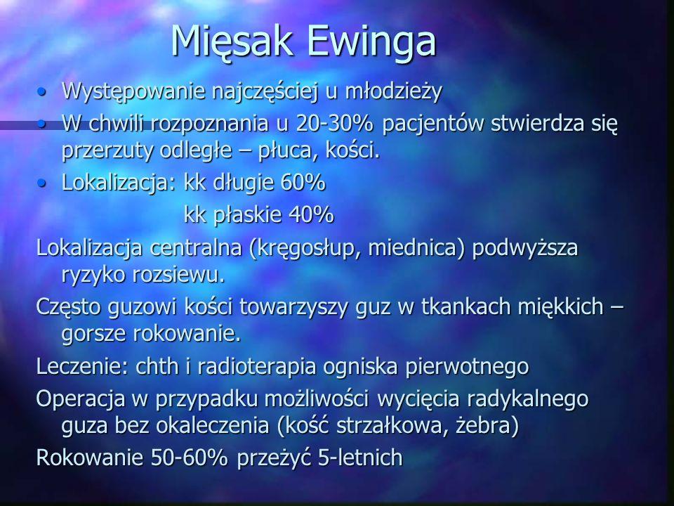 Mięsak Ewinga Występowanie najczęściej u młodzieży
