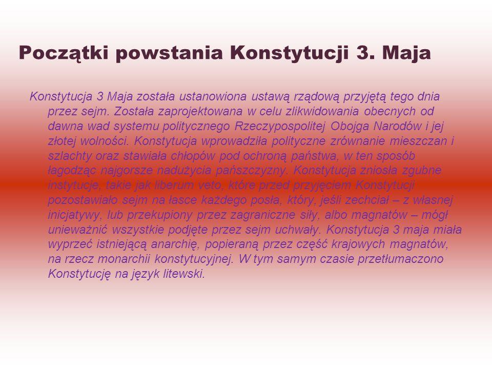Początki powstania Konstytucji 3. Maja