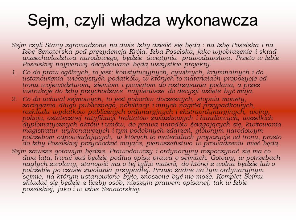 Sejm, czyli władza wykonawcza