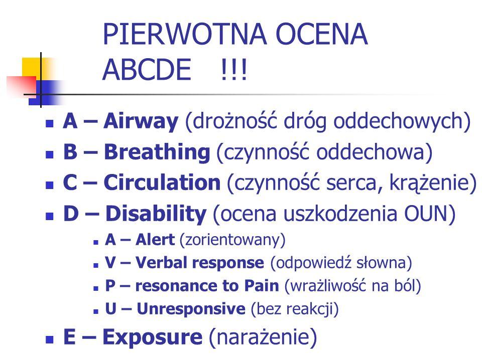 PIERWOTNA OCENA ABCDE !!! A – Airway (drożność dróg oddechowych)