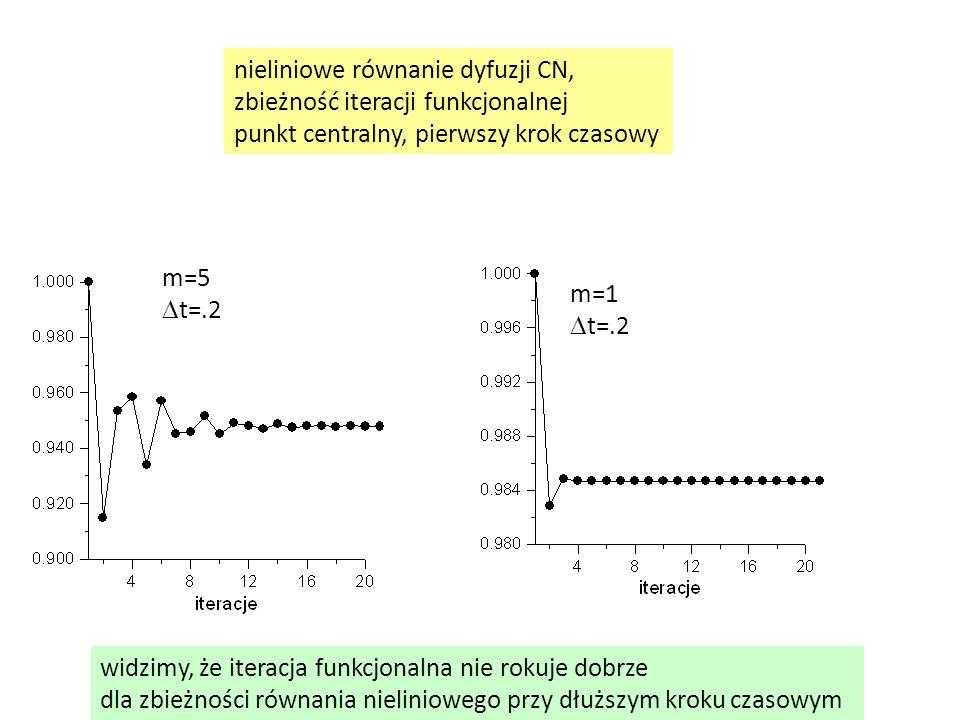 nieliniowe równanie dyfuzji CN,
