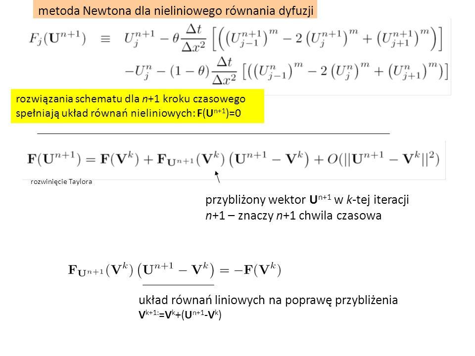 metoda Newtona dla nieliniowego równania dyfuzji