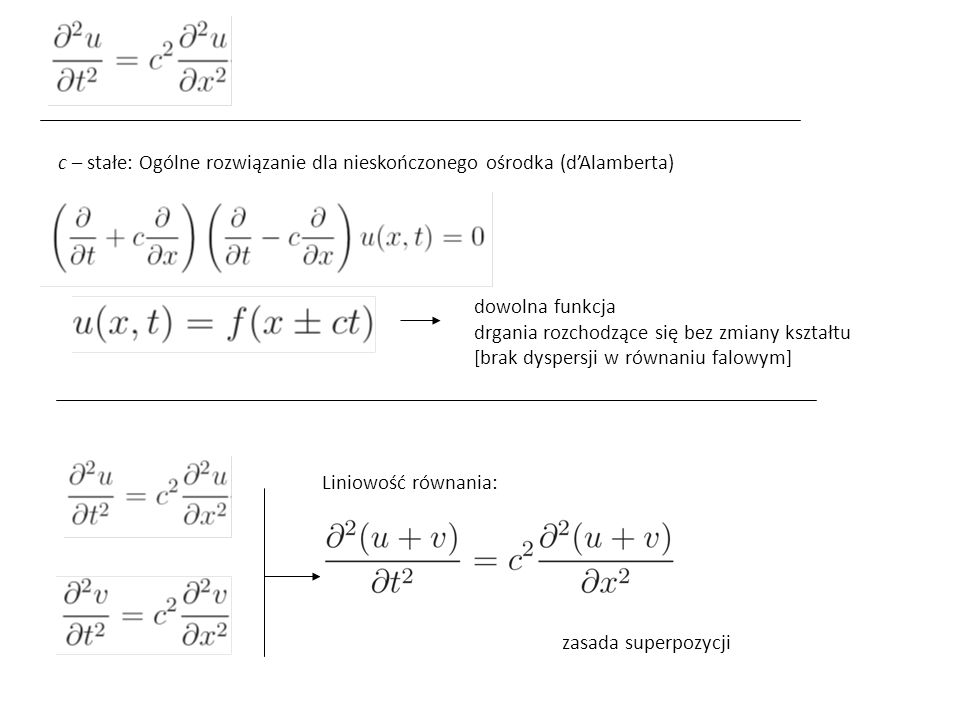 c – stałe: Ogólne rozwiązanie dla nieskończonego ośrodka (d'Alamberta)