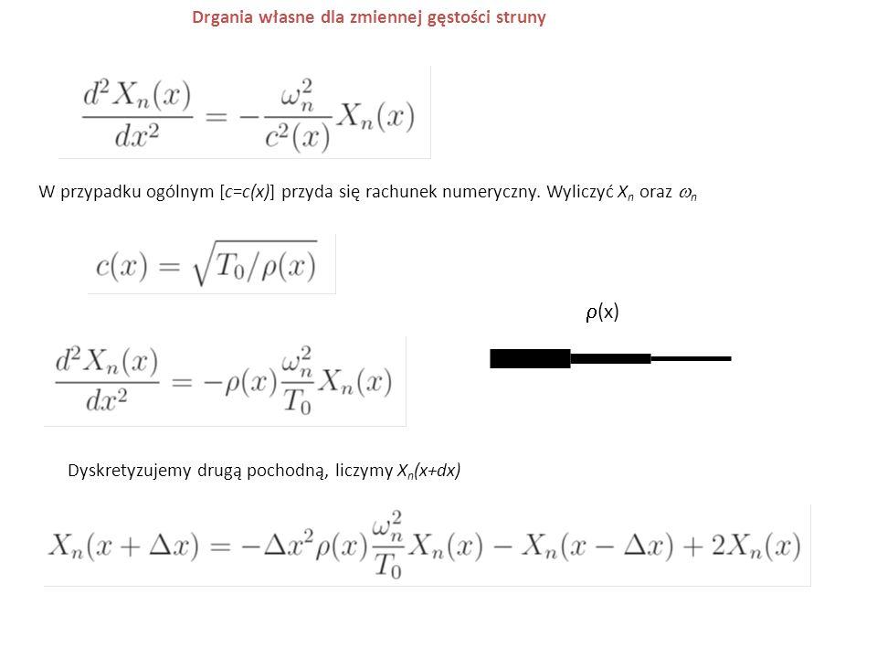 r(x) Drgania własne dla zmiennej gęstości struny