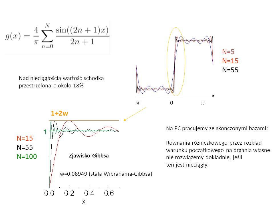 N=5 N=15 N=55 1+2w N=15 N=55 N=100 Nad nieciągłością wartość schodka