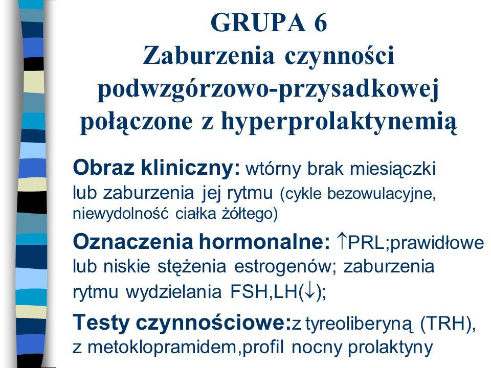 GRUPA 6 Zaburzenia czynności podwzgórzowo-przysadkowej połączone z hyperprolaktynemią