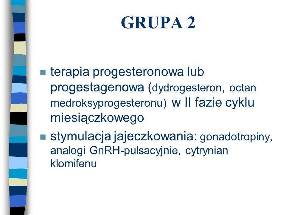 GRUPA 2 terapia progesteronowa lub progestagenowa (dydrogesteron, octan medroksyprogesteronu) w II fazie cyklu miesiączkowego.