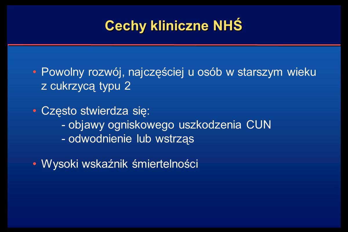 Cechy kliniczne NHŚ Powolny rozwój, najczęściej u osób w starszym wieku z cukrzycą typu 2.