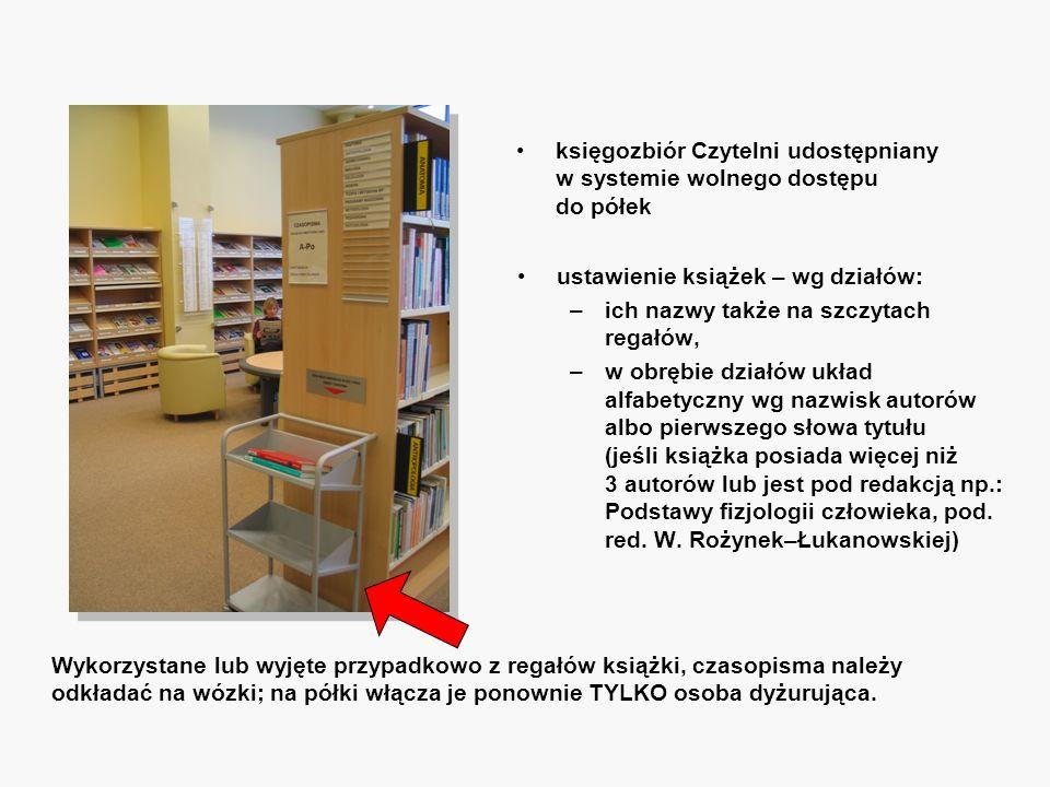 księgozbiór Czytelni udostępniany w systemie wolnego dostępu do półek