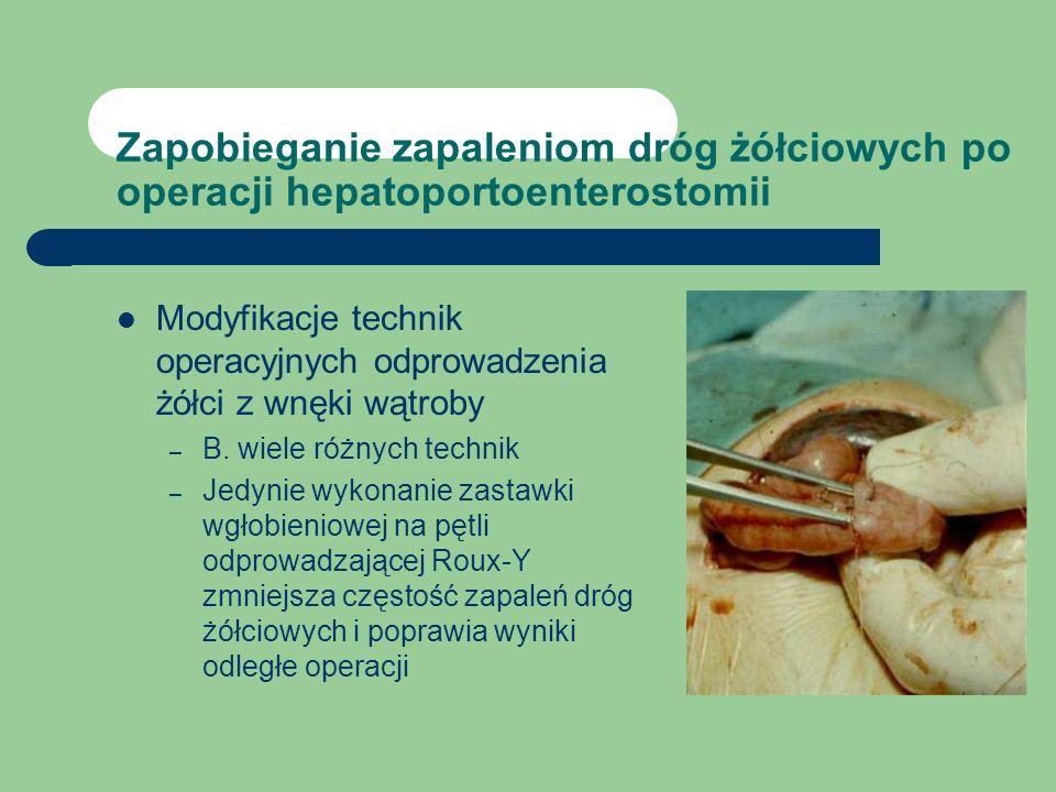 Zapobieganie zapaleniom dróg żółciowych po operacji hepatoportoenterostomii