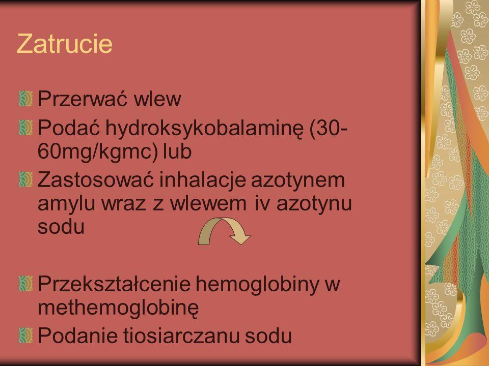 Zatrucie Przerwać wlew Podać hydroksykobalaminę (30-60mg/kgmc) lub