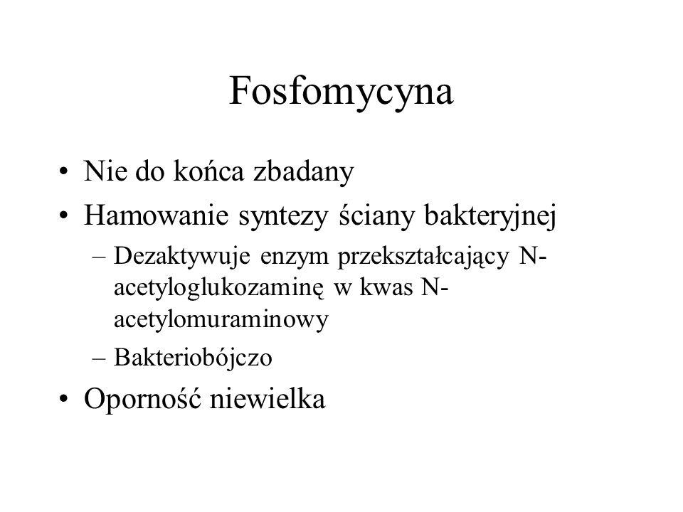 Fosfomycyna Nie do końca zbadany Hamowanie syntezy ściany bakteryjnej