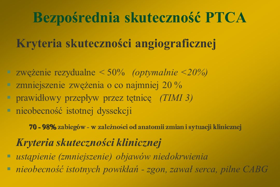 Bezpośrednia skuteczność PTCA