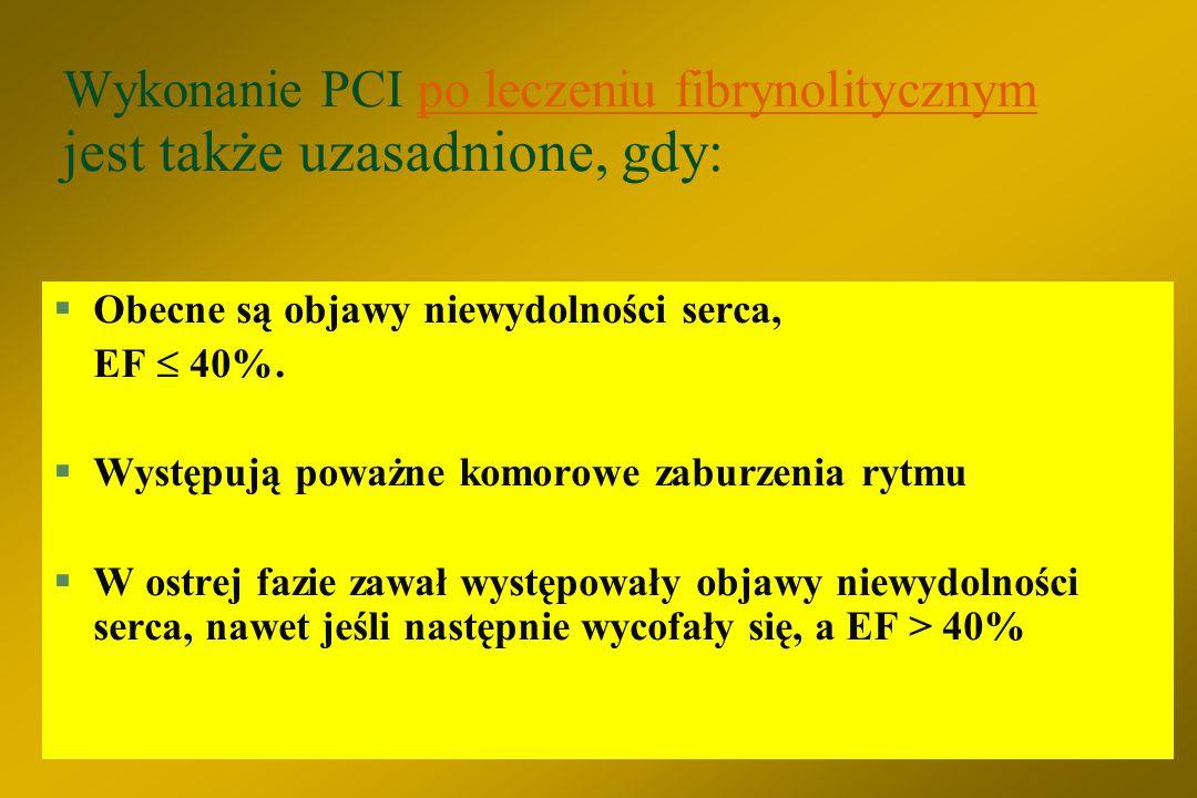 Wykonanie PCI po leczeniu fibrynolitycznym jest także uzasadnione, gdy: