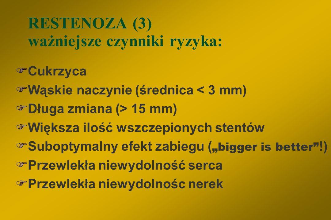 RESTENOZA (3) ważniejsze czynniki ryzyka: