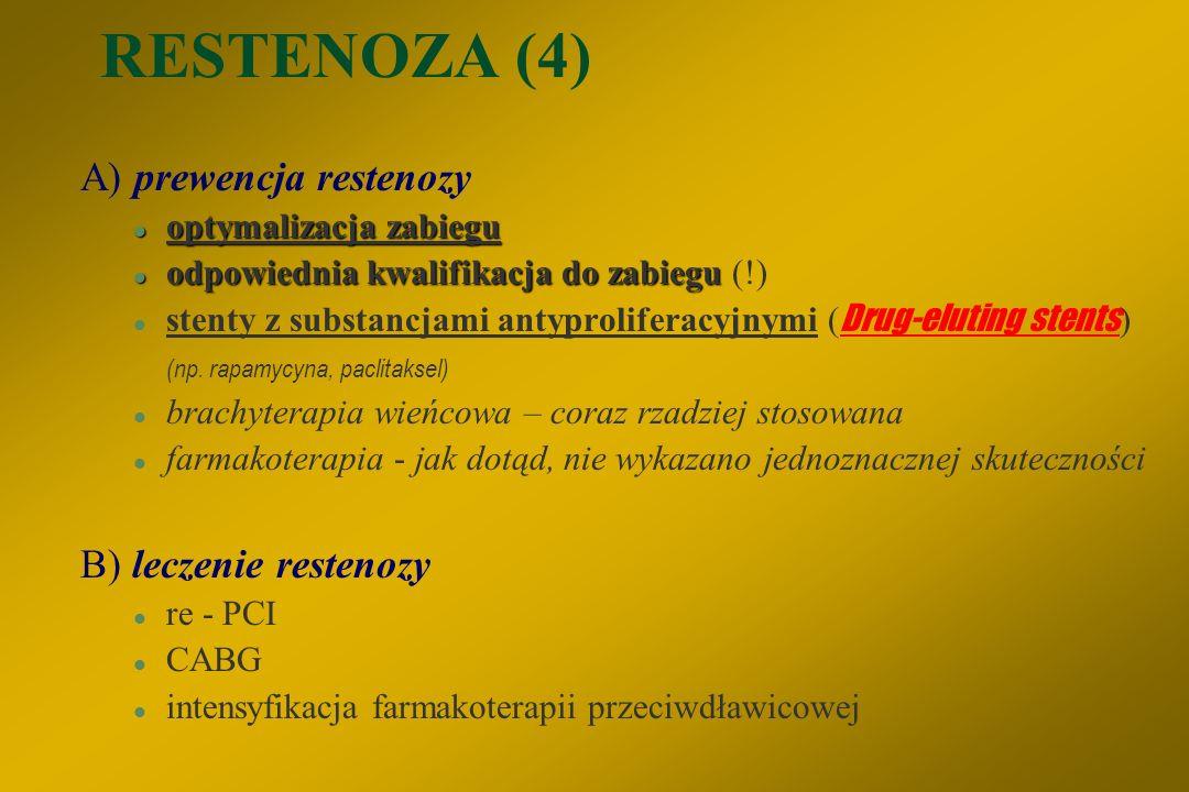 RESTENOZA (4) A) prewencja restenozy B) leczenie restenozy