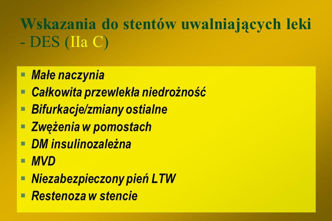 Wskazania do stentów uwalniających leki - DES (IIa C)