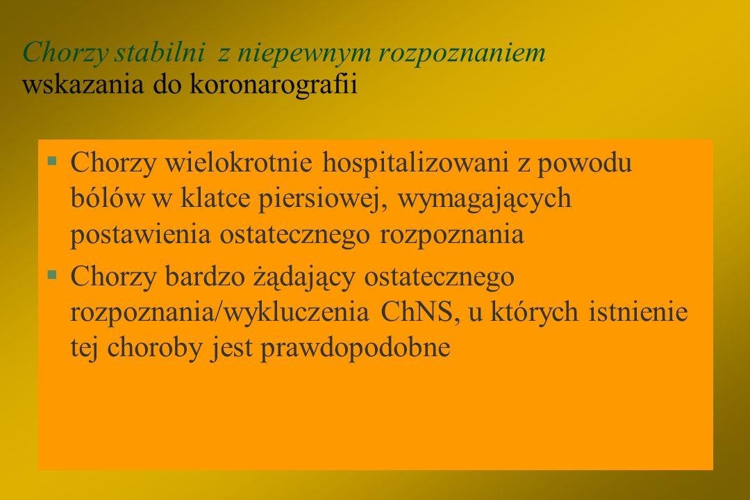 Chorzy stabilni z niepewnym rozpoznaniem wskazania do koronarografii