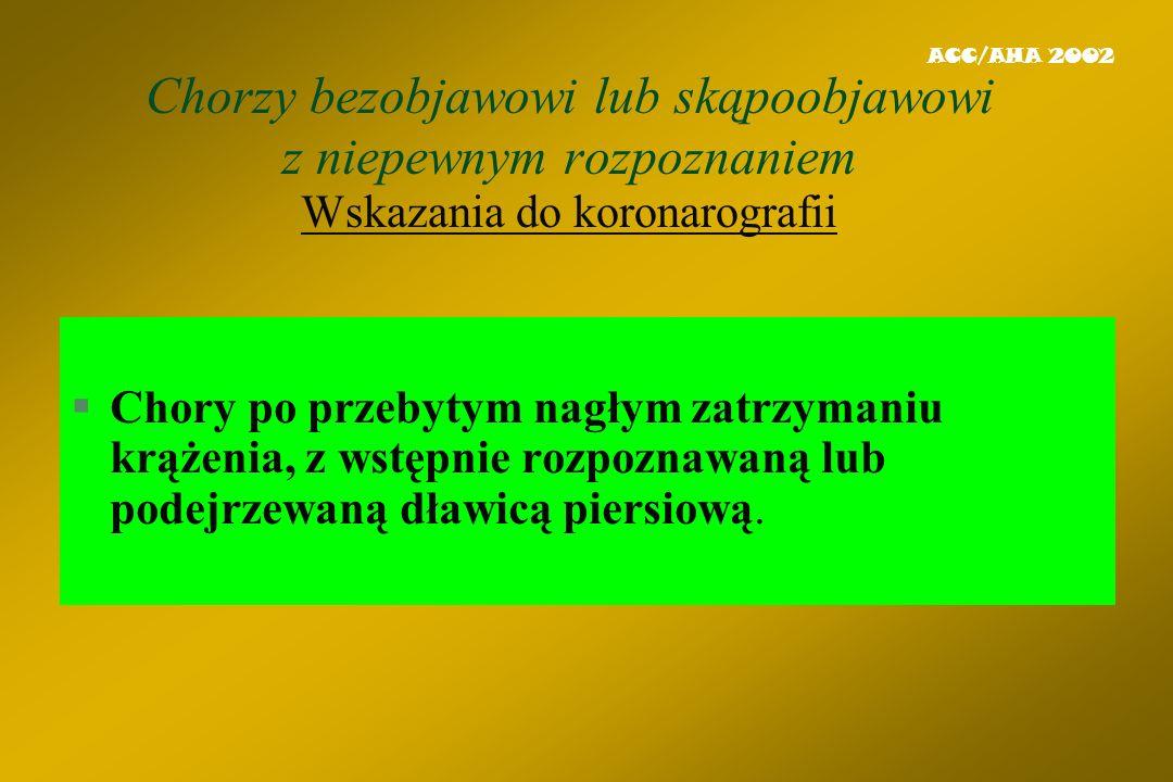 ACC/AHA 2002 Chorzy bezobjawowi lub skąpoobjawowi z niepewnym rozpoznaniem Wskazania do koronarografii.