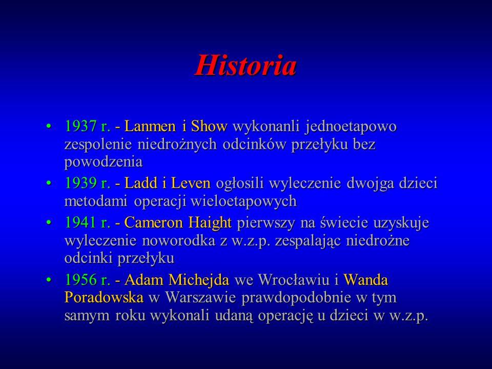 Historia 1937 r. - Lanmen i Show wykonanli jednoetapowo zespolenie niedrożnych odcinków przełyku bez powodzenia.