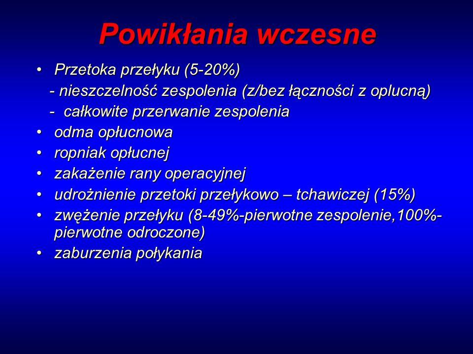 Powikłania wczesne Przetoka przełyku (5-20%)