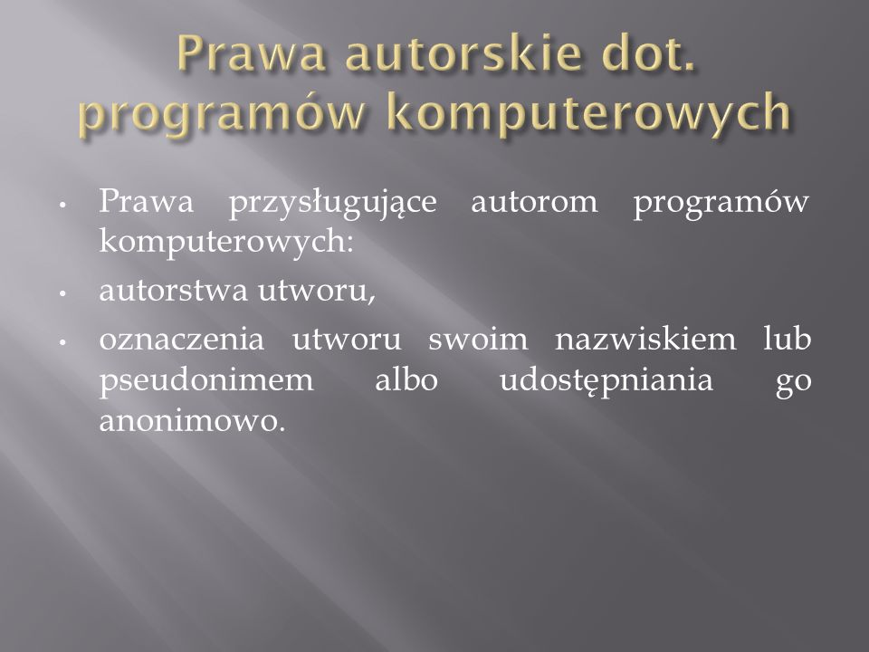 Prawa autorskie dot. programów komputerowych