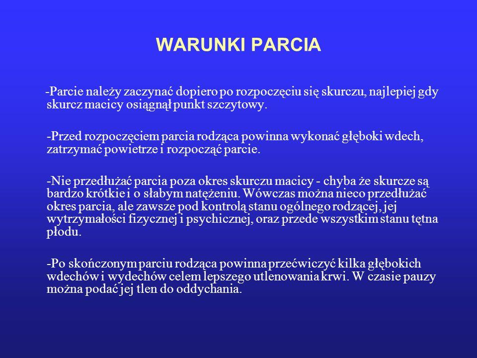 WARUNKI PARCIA -Parcie należy zaczynać dopiero po rozpoczęciu się skurczu, najlepiej gdy skurcz macicy osiągnął punkt szczytowy.