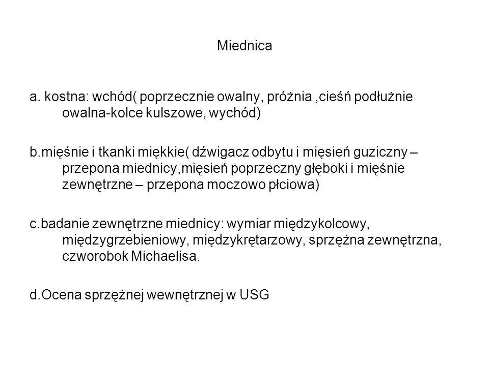 Miednica a. kostna: wchód( poprzecznie owalny, próżnia ,cieśń podłużnie owalna-kolce kulszowe, wychód)