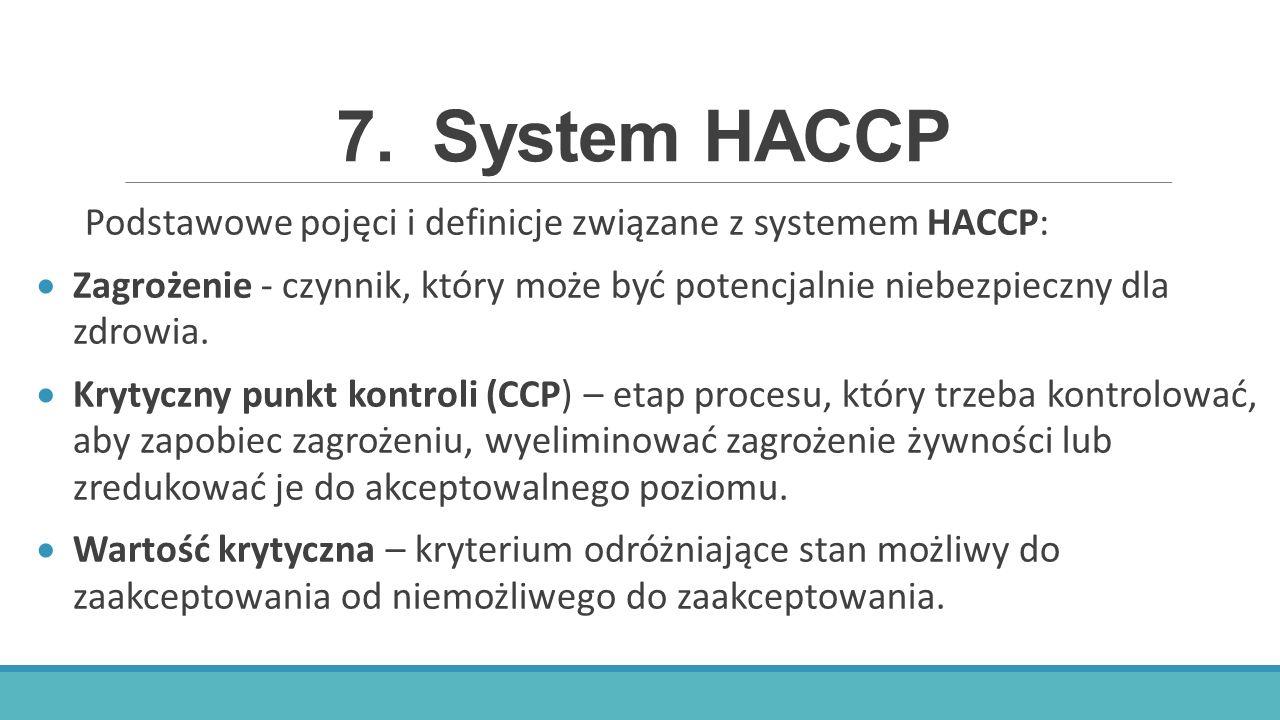 7. System HACCP Podstawowe pojęci i definicje związane z systemem HACCP: