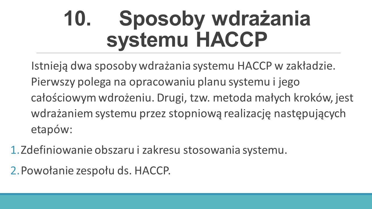 10. Sposoby wdrażania systemu HACCP