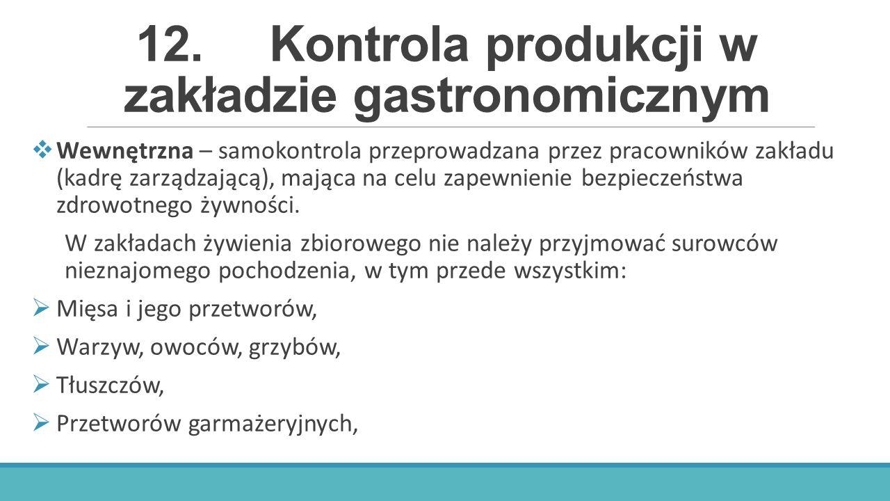 12. Kontrola produkcji w zakładzie gastronomicznym