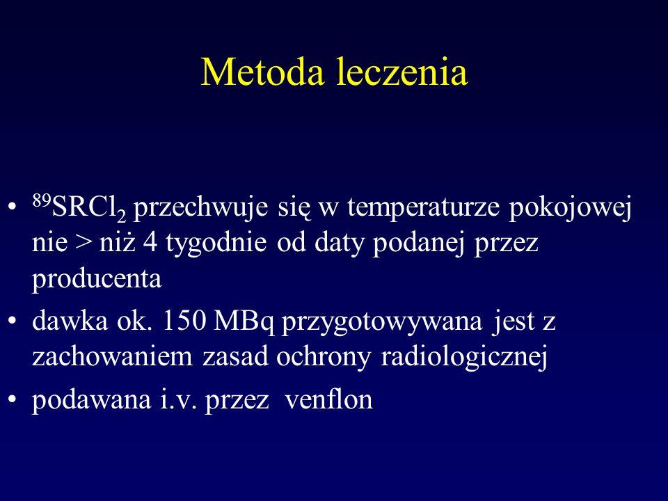 Metoda leczenia 89SRCl2 przechwuje się w temperaturze pokojowej nie > niż 4 tygodnie od daty podanej przez producenta.