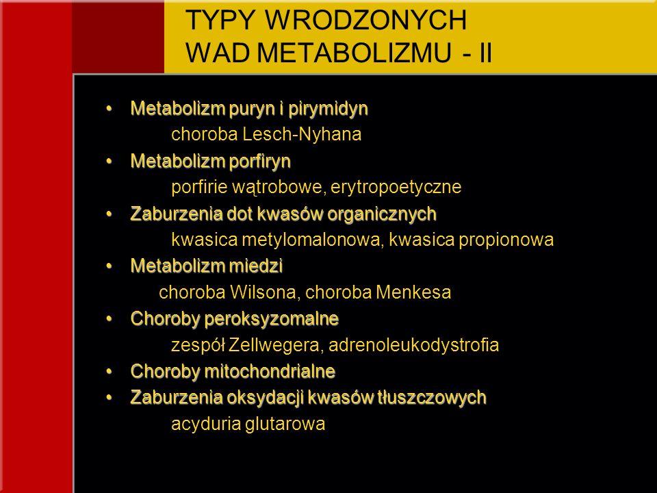 TYPY WRODZONYCH WAD METABOLIZMU - II