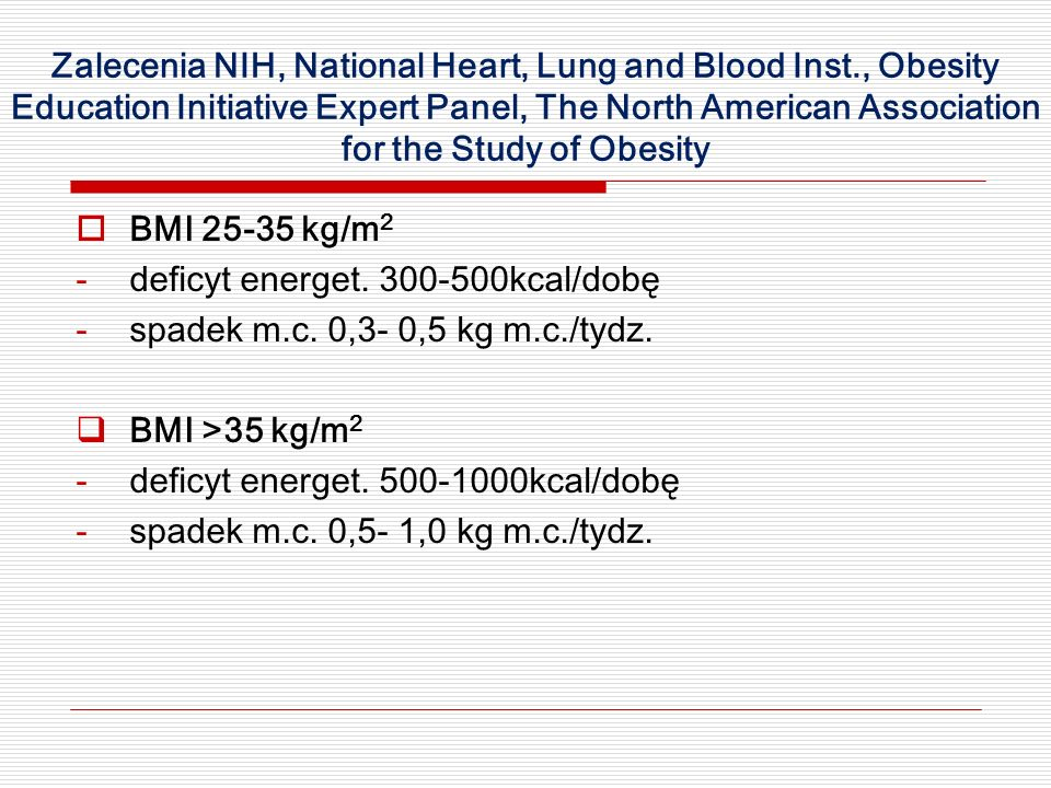 Zalecenia NIH, National Heart, Lung and Blood Inst